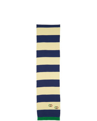 weißer und dunkelblauer horizontal gestreifter Schal von Gucci
