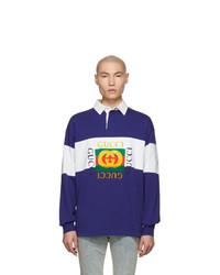 weißer und dunkelblauer Polo Pullover von Gucci