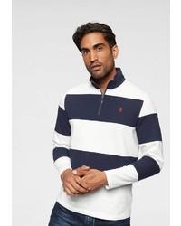 weißer und dunkelblauer Pullover mit einem Reißverschluss am Kragen von Izod