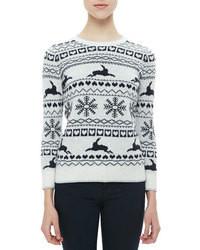 weißer und dunkelblauer Pullover mit einem Rundhalsausschnitt mit Fair Isle-Muster