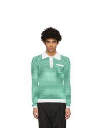 weißer und grüner horizontal gestreifter Polo Pullover