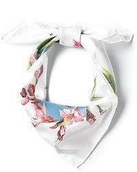 weißer und rosa Schal mit Blumenmuster von Dolce & Gabbana