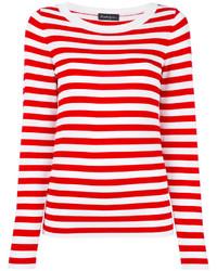 weißer und roter horizontal gestreifter Pullover mit einem Rundhalsausschnitt