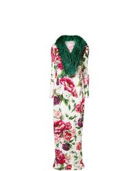 weißer und roter Mantel mit einem Pelzkragen von Dolce & Gabbana