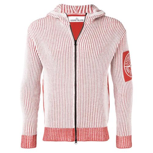 weißer und roter Pullover mit einem Kapuze von Stone Island