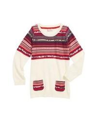 weißer und roter Pullover mit einem Rundhalsausschnitt mit Fair Isle-Muster