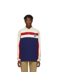 weißer und roter und dunkelblauer horizontal gestreifter Polo Pullover von Gucci