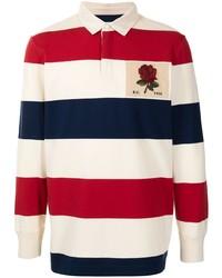 weißer und roter und dunkelblauer horizontal gestreifter Polo Pullover von Kent & Curwen