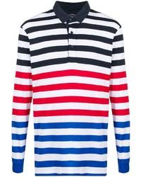 weißer und roter und dunkelblauer horizontal gestreifter Polo Pullover von Paul & Shark
