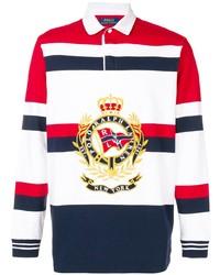 weißer und roter und dunkelblauer horizontal gestreifter Polo Pullover von Polo Ralph Lauren