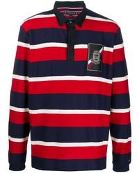 weißer und roter und dunkelblauer horizontal gestreifter Polo Pullover von Tommy Hilfiger