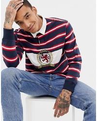weißer und roter und dunkelblauer horizontal gestreifter Polo Pullover von Tommy Jeans