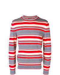 weißer und roter und dunkelblauer horizontal gestreifter Pullover mit einem Rundhalsausschnitt