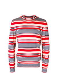 weißer und roter und dunkelblauer horizontal gestreifter Pullover mit einem Rundhalsausschnitt von A.P.C.