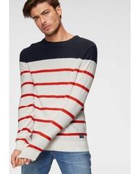 weißer und roter und dunkelblauer horizontal gestreifter Pullover mit einem Rundhalsausschnitt von Jack & Jones