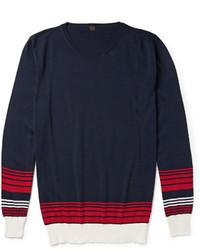 weißer und roter und dunkelblauer horizontal gestreifter Pullover mit einem Rundhalsausschnitt von Piombo