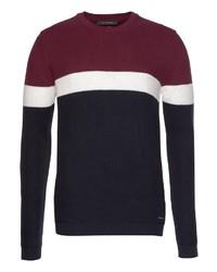 weißer und roter und dunkelblauer horizontal gestreifter Pullover mit einem Rundhalsausschnitt von Roy Robson