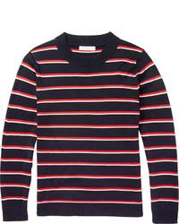 weißer und roter und dunkelblauer horizontal gestreifter Pullover mit einem Rundhalsausschnitt von Sandro