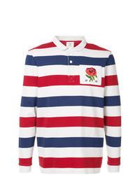 weißer und roter und dunkelblauer Polo Pullover
