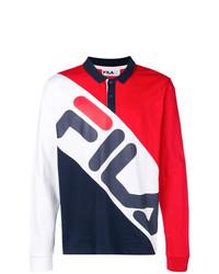 weißer und roter und dunkelblauer Polo Pullover von Fila