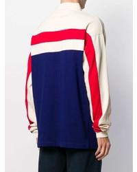 weißer und roter und dunkelblauer Polo Pullover von Gucci