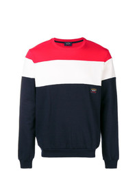 weißer und roter und dunkelblauer Pullover mit einem Rundhalsausschnitt von Paul & Shark
