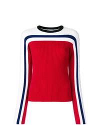 weißer und roter und dunkelblauer Pullover mit einem Rundhalsausschnitt von RED Valentino