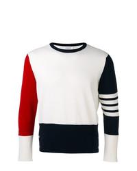 weißer und roter und dunkelblauer Pullover mit einem Rundhalsausschnitt von Thom Browne