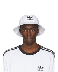 weißer und schwarzer bedruckter Fischerhut von adidas Originals