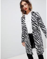 weißer und schwarzer bedruckter Mantel von Mango