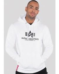 weißer und schwarzer bedruckter Pullover mit einem Kapuze von Alpha Industries