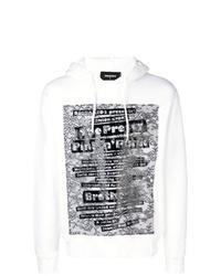 weißer und schwarzer bedruckter Pullover mit einem Kapuze von DSQUARED2