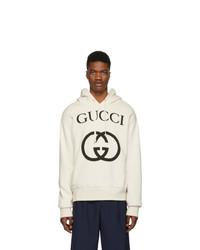 weißer und schwarzer bedruckter Pullover mit einem Kapuze von Gucci