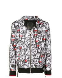 weißer und schwarzer bedruckter Pullover mit einem Kapuze von Philipp Plein