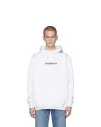 weißer und schwarzer bedruckter Pullover mit einem Kapuze von Vetements