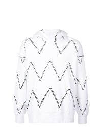 weißer und schwarzer bedruckter Pullover mit einem Kapuze von VISVIM