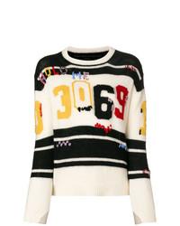 weißer und schwarzer bedruckter Pullover mit einem Rundhalsausschnitt von Ermanno Scervino