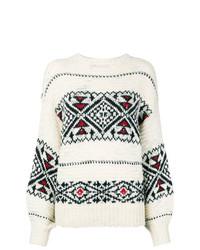 weißer und schwarzer bedruckter Pullover mit einem Rundhalsausschnitt von Polo Ralph Lauren