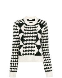 weißer und schwarzer bedruckter Pullover mit einem Rundhalsausschnitt von Saint Laurent