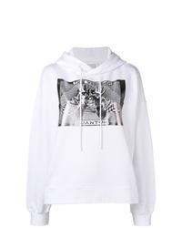 weißer und schwarzer bedruckter Pullover mit einer Kapuze von Maison Margiela