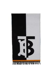 weißer und schwarzer bedruckter Schal von Burberry