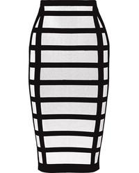weißer und schwarzer Bleistiftrock mit Karomuster von Balmain