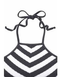 weißer und schwarzer horizontal gestreifter Badeanzug von Jette Joop