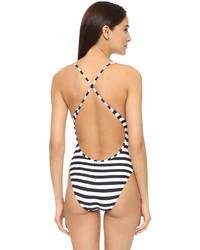 weißer und schwarzer horizontal gestreifter Badeanzug von Proenza Schouler