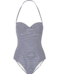 weißer und schwarzer horizontal gestreifter Badeanzug von Tory Burch