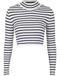 weißer und schwarzer horizontal gestreifter kurzer Pullover