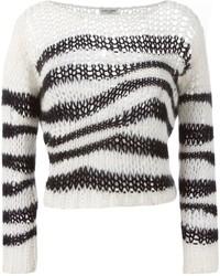 weißer und schwarzer horizontal gestreifter kurzer Pullover von Saint Laurent