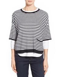 weißer und schwarzer horizontal gestreifter Oversize Pullover
