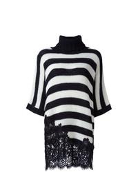 weißer und schwarzer horizontal gestreifter Oversize Pullover von Ermanno Scervino
