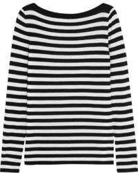 weißer und schwarzer horizontal gestreifter Oversize Pullover von Michael Kors
